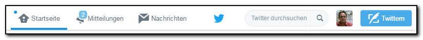 Twitter - Menüleiste