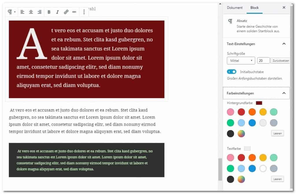 Die Seitenleiste enthält zusätzliche Formatierungsoptionen für Blocktypen