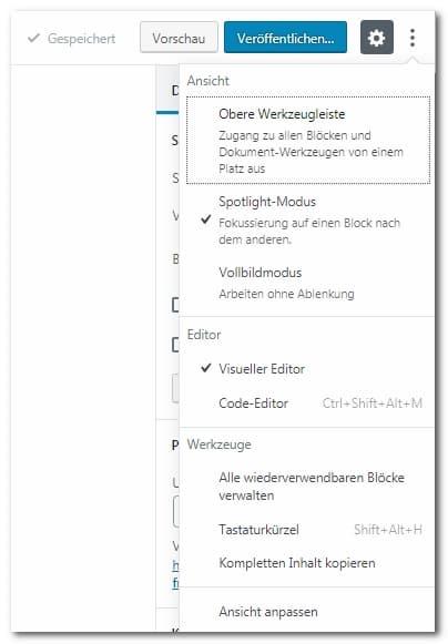 Einstellungen, die die Arbeitsweise des Gutenberg Editors beeinflussen