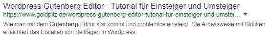 Schlechtes Beispiel: Ein Google Suchergebniseintrag mit ungekürztem Permalink