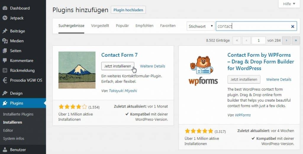 Wordpress - Plugins -Suchergebnis