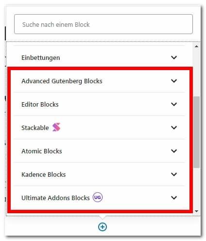 Das Bild zeigt eine Liste mit installierten Block-Bibliotheken. Diese werden in der Liste weiter unten noch einmal zusammen mit einem Link zur Plugin-Seite aufgeführt.